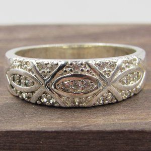 Size 7.75 Sterling Silver X Style CZ Diamond Band